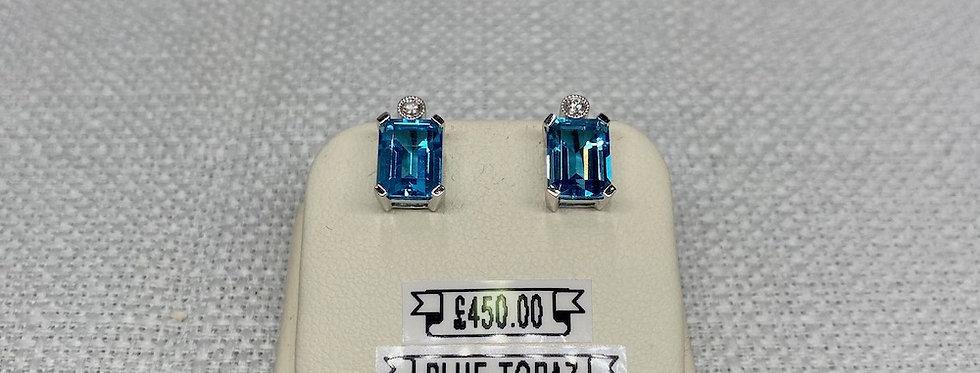 Vintage Blue Topaz & Diamond Earrings