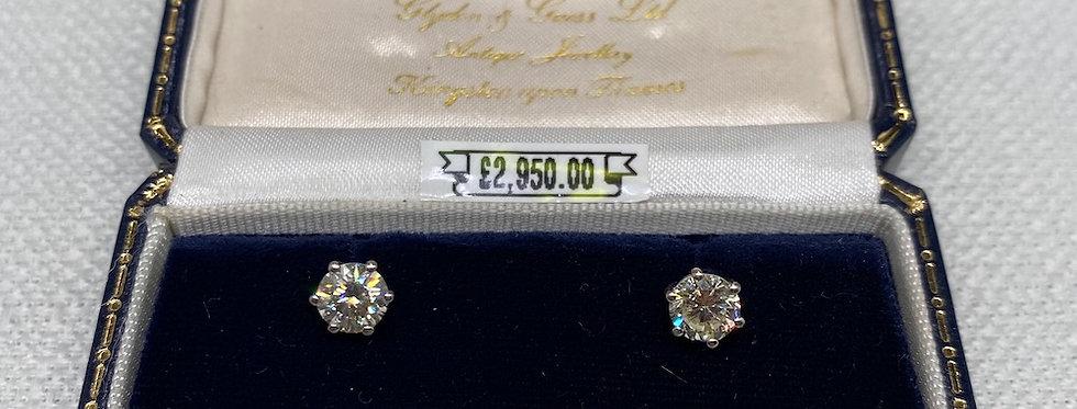 Vintage 1.40 Carat Diamond Stud Earrings
