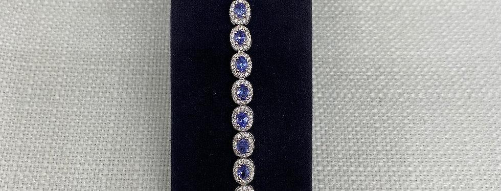 Tanzanite & Crystal Line Bracelet