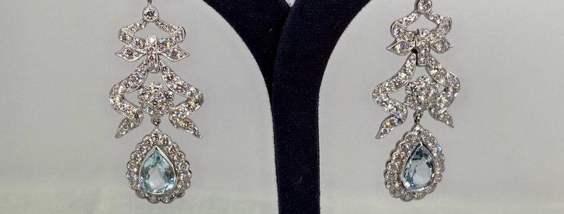 Vintage Aquamarine & Diamond Earrings