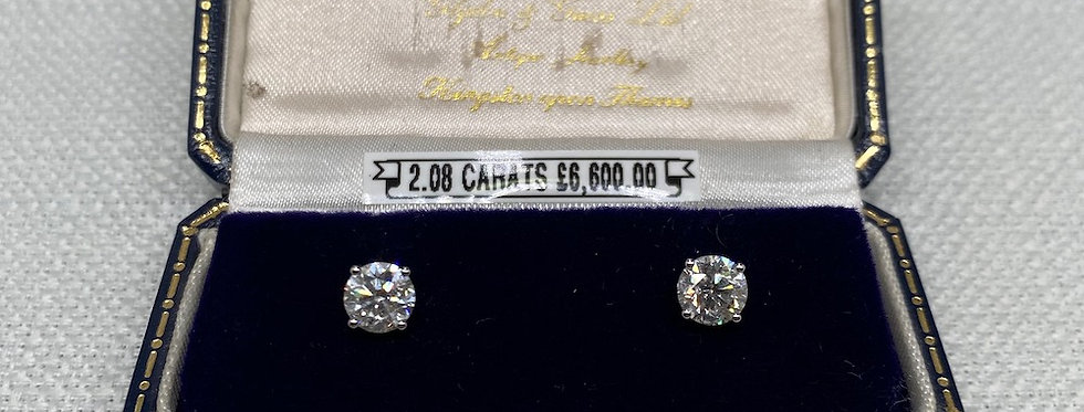 2.08 Carat Diamond Stud Earrings