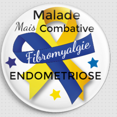 Grand Badge rond à épingle Ø 76mm FIBROMYALGIE ENDOMETRIOSE