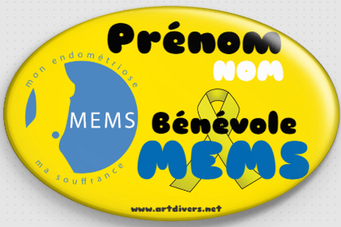 Badge ovale à épingle 70x45 mm Personnalisé BENEVOLE MEMS REF MS5