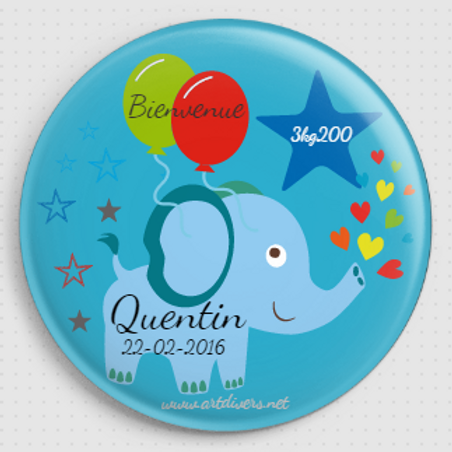 Badge rond à épingle - Existe 2 coloris blanc/bleu Ø 38,45,56,76 REF N12