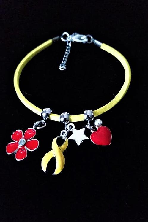 Réf BM10 Bracelet Pampilles Réglable suédine jaune