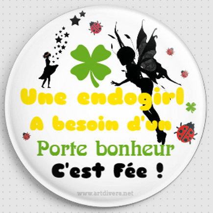 Badge rond à épingle Ø 56mm PORTE BONHEUR