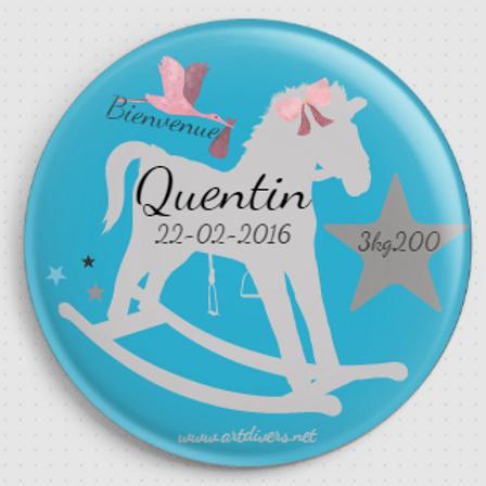 Badge rond à épingle - Existe 2 coloris de bleu Ø 38,45,56,76 REF N1