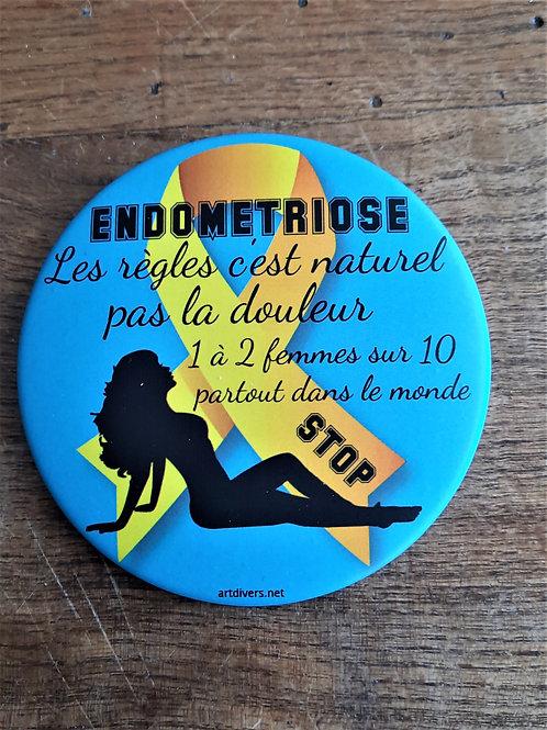 Badge rond à épingle Ø 76mm ENDOMETRIOSE RéfBDE1
