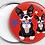 Thumbnail: Badge rond à épingle BULL - Ø 56Existe en gris, rouge, blanc, noir