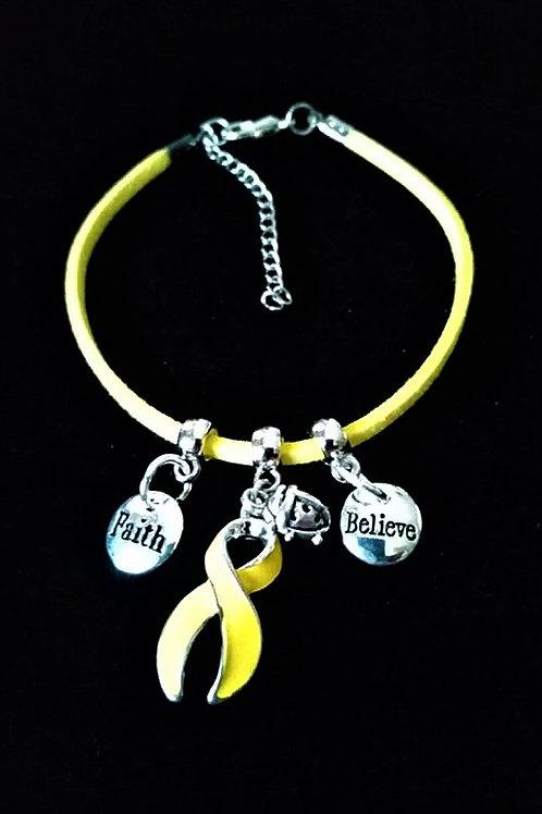 Réf BM1 Bracelet Pampilles Réglable suédine jaune