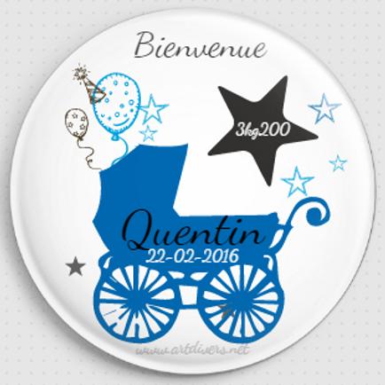 Badge rond à épingle - Existe 2 coloris blanc/bleu Ø 38,45,56,76 REF N8