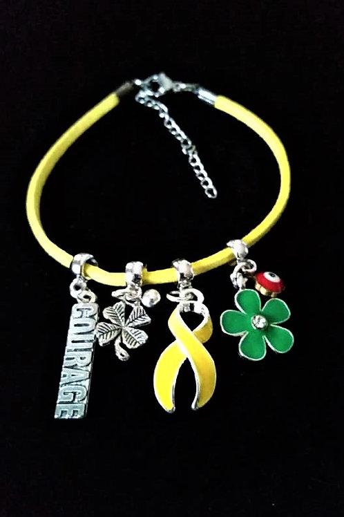 Réf BM6 Bracelet Pampilles Réglable suédine jaune