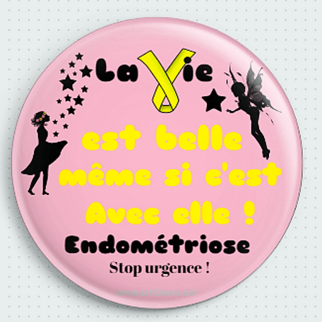 Badge rond à épingle Ø 56mm LA VIE EST BELLE