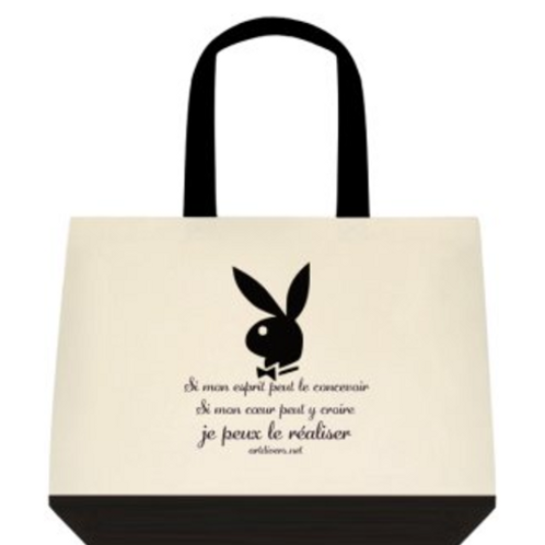SAC EN TOILE BICOLORE CITATION LAPIN