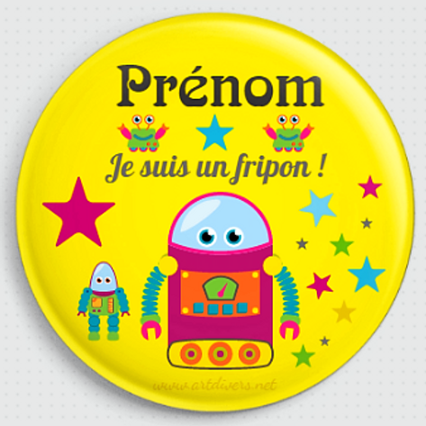 Badge rond à épingle 38mm Personnalisable Existe bleu/jaune/vert Réf BP1