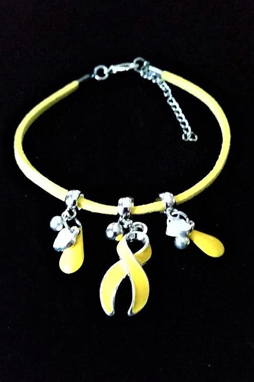 Réf BM7 Bracelet Pampilles Réglable suédine jaune