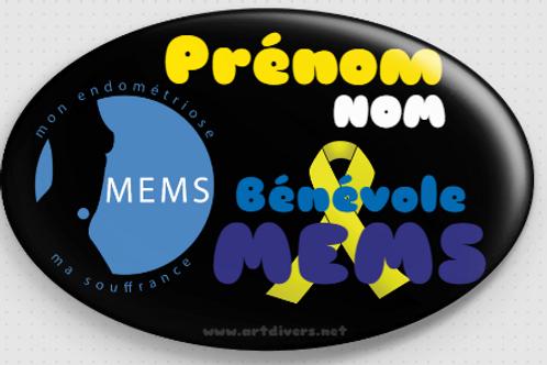 Badge ovale à épingle 70x45 mm Personnalisé BENEVOLE MEMS REF MS11