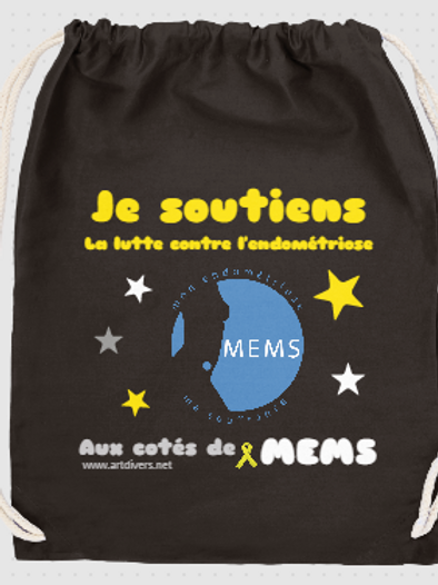 SAC A DOS COTON noir - Soutien MEMS ref MS A
