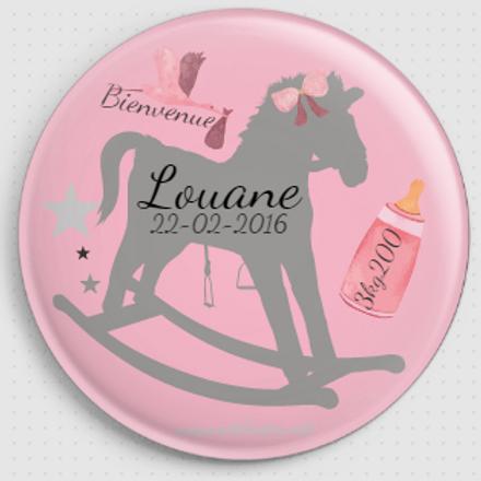 Badge rond à épingle - Existe 2 coloris de rose Ø 38,45,56,76 REF N2