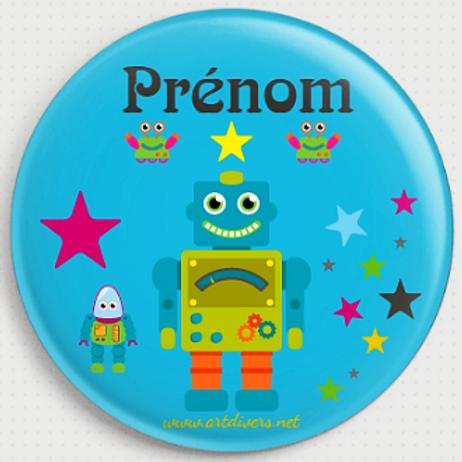 Badge rond  Ø38mm Personnalisable Existe bleu/jaune/vert Réf BP3