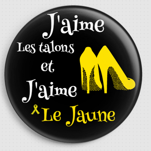 Badge rond à épingle - Ø 32 mm - J'aime les talons et j'aime le jaune REF BA1