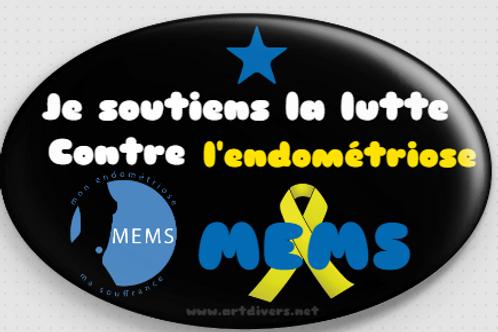 Badge ovale à épingle 70x45 mm SOUTIEN MEMS REF MS2