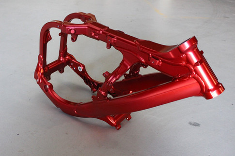 Candy red motorbike frame