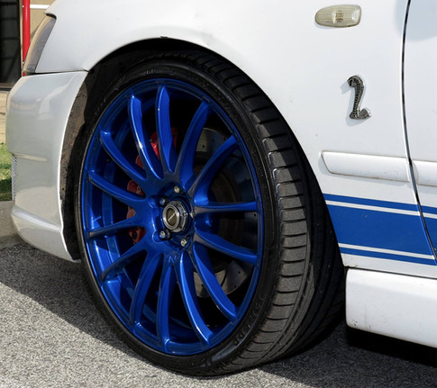 Candy blue powder coated rims