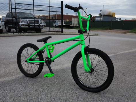 Fluro green powder coated BMX bike