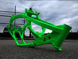 Fluro green powder coated bike frame