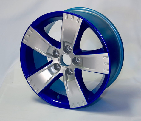 Two tone powder coated rims candy blue