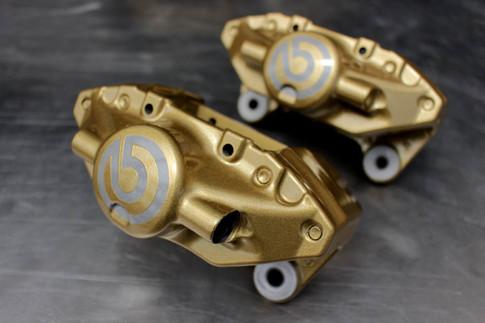 Gold powder coated brake callipers