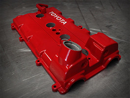 Powder coated red valve cover