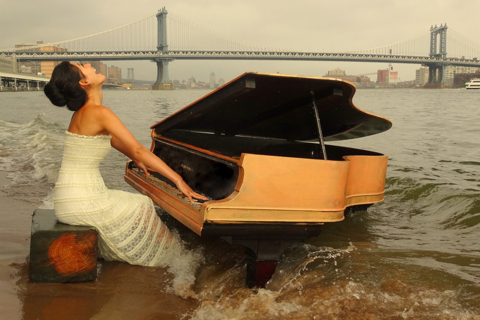 Nocturne under Manhattan Bridge in NYC