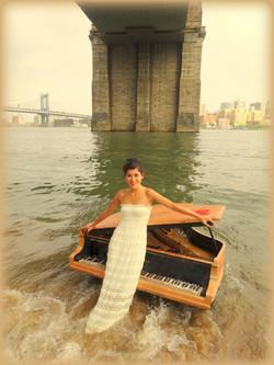 Nocturne under Brooklyn Bridge in NYC