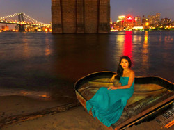 Nocturne under Brooklyn Bridge in NYC