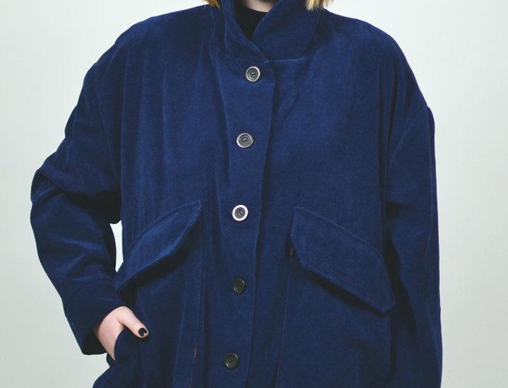 Jacket velvet cotton blue