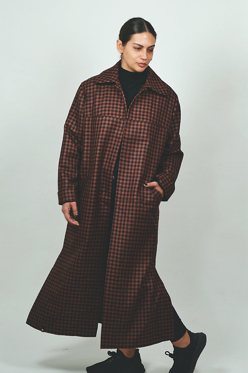 Wool houndstooth long coat