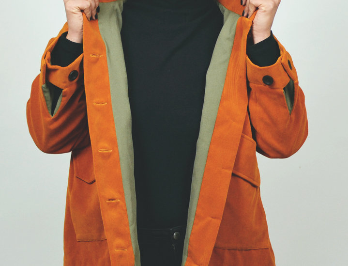 Jacket velvet cotton orange
