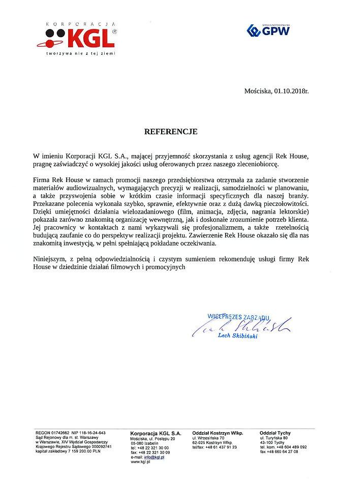 Referencje od Korporacji KGL Lech Skibiński dla Rek House