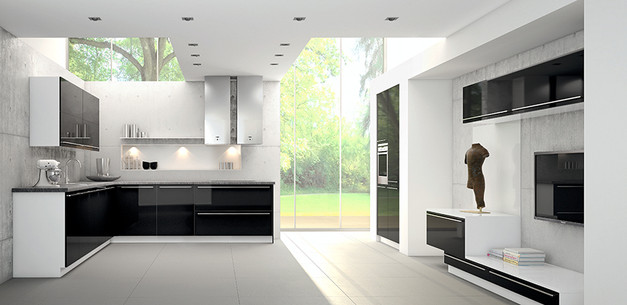 High-gloss black lacquer with white frame