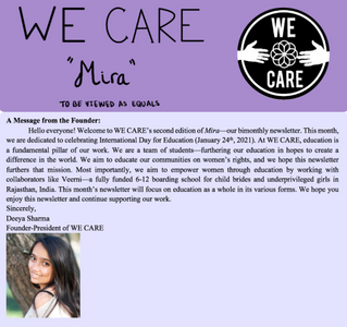 WE CARE's Second Newsletter in Honor of International Day for Education
