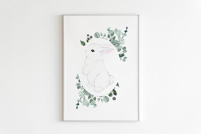 Botanical Hotot Bunny Print