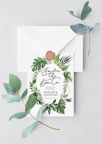 Tropical Watercolor Wedding Save the Date