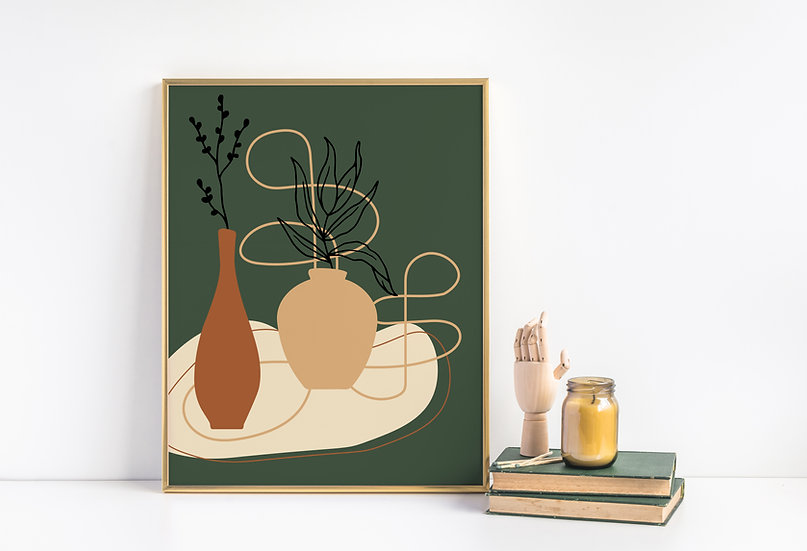Botanical Mid Century Modern Line Art Print