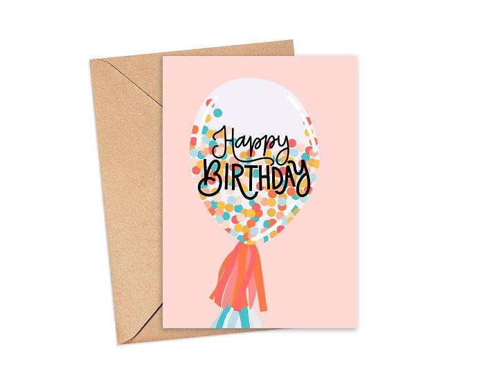 Confetti Balloon - Birthday Greeting Card