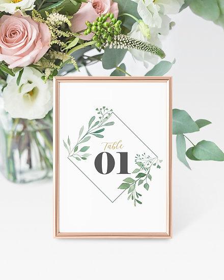 Leaf Watercolor Wedding Table Numbers