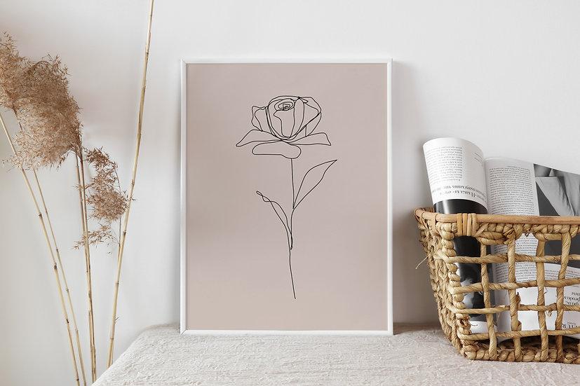 Blush Rose Line Art Digital Print
