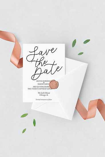 Minimal Typography Wedding Save the Date