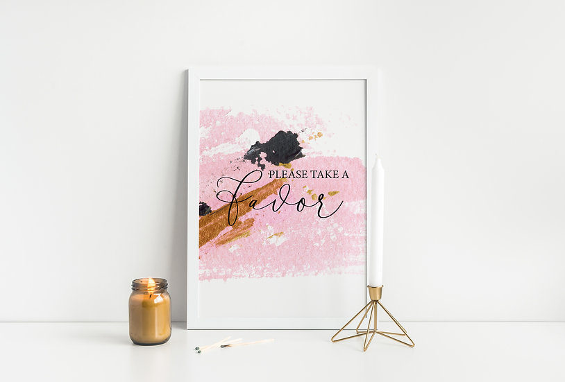 Pink and Gold Watercolor Favor Wedding Sign